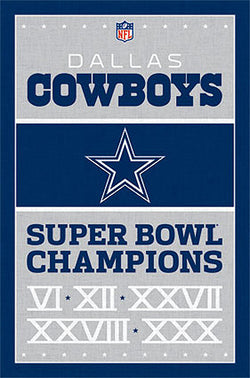 Dallas Cowboys 5-Time NFL Super Bowl Champions Commemorative Wall Poster - Costacos