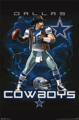 "Dallas Cowboys ""On Fire"" NFL Theme Art Poster - Costacos Sports"