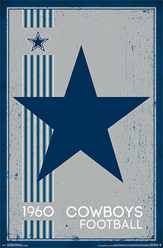 Dallas Cowboys Retro Logo c.1960 Official NFL Football Team Poster - Costacos Sports