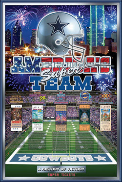 "Dallas Cowboys ""History of Victory"" 5-Time Super Bowl Champs Poster - Action Images"