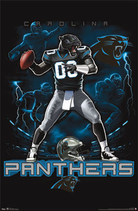 "Carolina Panthers ""On Fire"" NFL QB Theme Art Poster - Liquid Blue/Trends International"