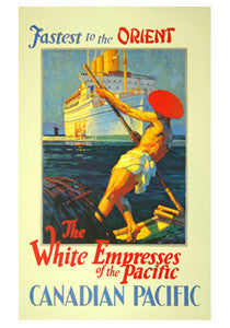 "Canadian Pacific White Empress ""Fastest to the Orient"" (1932) Vintage Reprint"