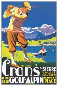 Golf at Crans-sur-Sierre, Switzerland Vintage Poster Reprint (c.1925)