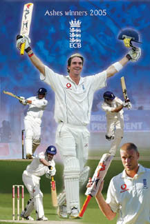 "Team England Cricket ""Ashes Winners 2005"" (The Batsmen) Poster - Pyramid Posters"