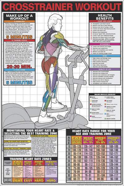 Cross Trainer Workout (Men's Elliptical) Instructional Wall Chart Poster - Fitnus