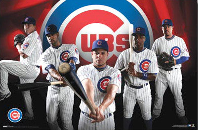 "Chicago Cubs ""Big Five"" MLB Action Poster - Costacos 2009"