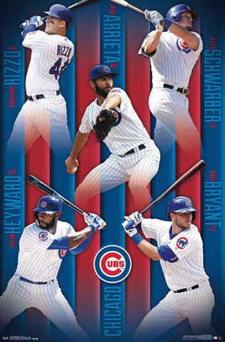 "Chicago Cubs ""Five-Pack"" MLB Poster (Rizzo, Arrieta, Schwarber, Bryant, Heyward) - Trends Int'l."