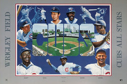 "Chicago Cubs ""Wrigley All Star Legends"" Premium Poster Print - Abbate Studios 1989"