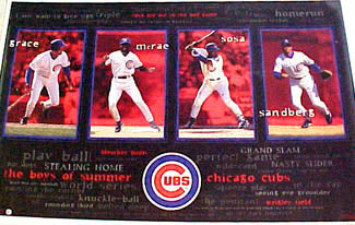 "Chicago Cubs ""Boys of Summer"" Poster (Sandberg, Sosa, Grace, McRae) - Costacos 1997"