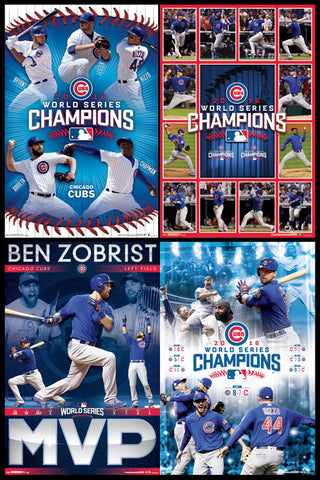 COMBO: Chicago Cubs 2016 World Series Champions 4-Poster Combo Set