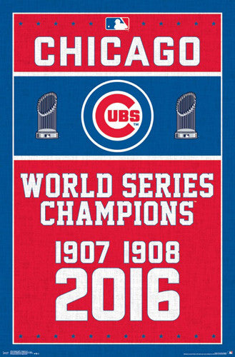 Chicago Cubs 3-Time World Series Champions Commemorative Poster - Trends International 2016
