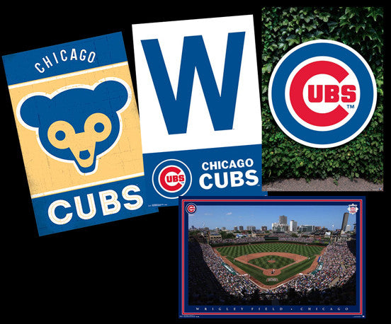 "COMBO: Chicago Cubs Baseball ""Wrigley-Style"" 4-Poster Combo Set"