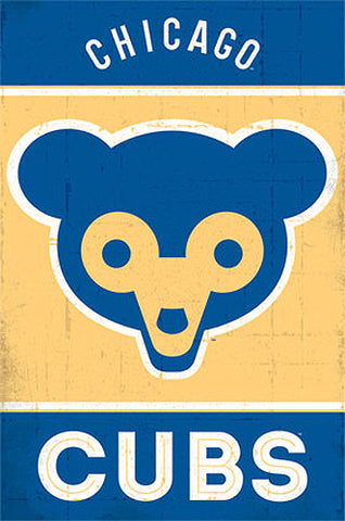"Chicago Cubs ""Bear Cub"" Retro 1962-78 Alternate Logo Official MLB Team Poster - Costacos"