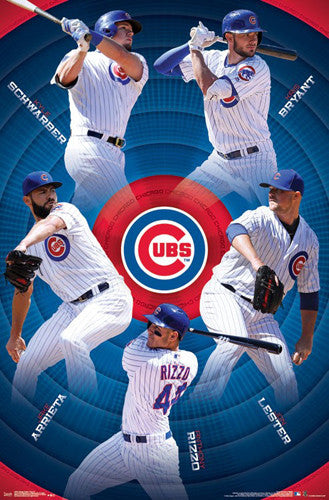 Chicago Cubs Superstars 2017 Baseball POSTER (Schwarber, Bryant, Rizzo, Lester, Arrieta)