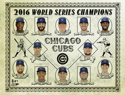 "Chicago Cubs 2016 World Series Champions ""Retro-Stars"" Premium Poster Print - Photofile Inc."