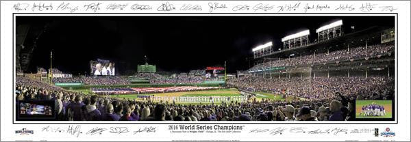 "Chicago Cubs ""World Series Majesty 2016"" Panoramic Poster Print w/25 Facs. Signatures"