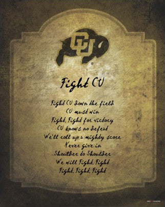 "Colorado Buffaloes ""Fight CU"" Official Fight Song Poster Print - ProGraphs"