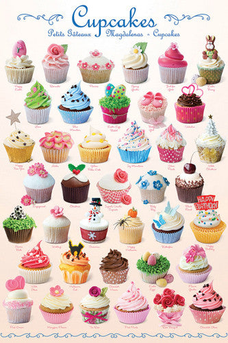 The Cupcakes Poster (39 Creations - Delicious Bakery Desserts) - Eurographics