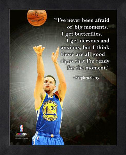 "Stephen Curry ""Big Moments"" Golden State Warriors FRAMED 16x20 PRO QUOTES PRINT - Photofile"