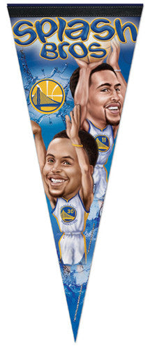 "Stephen Curry and Klay Thompson ""Splash Bros"" Cartoon-Style Premium Felt Pennant - Wincraft"