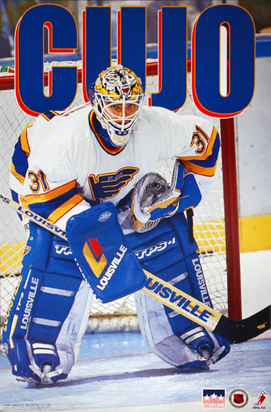 "Curtis Joseph ""Cujo"" St. Louis Blues Goalie NHL Action Poster - Starline 1994"