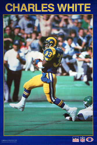 "Charles White ""Touchdown!"" (1987) L.A. Rams NFL Action Poster - Starline Inc."