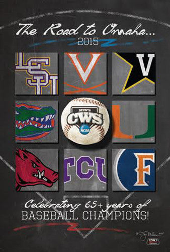 "NCAA Baseball College World Series ""Road to Omaha"" 2015 Event Poster - ProGraphs"