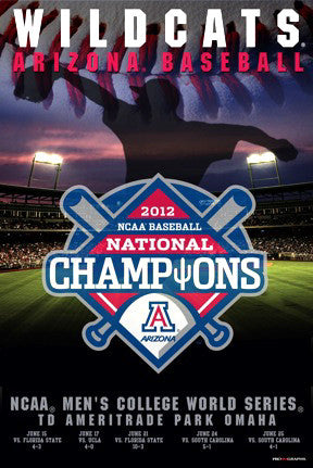 Arizona Wildcats 2012 NCAA Baseball National Champions Commemorative Poster