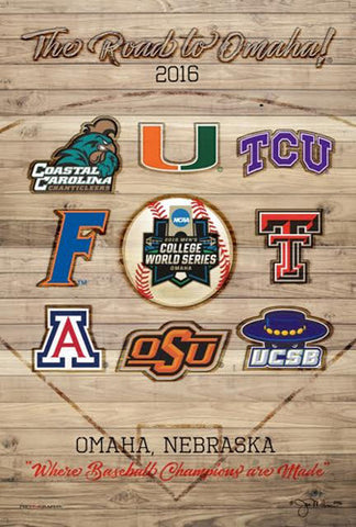 "NCAA Baseball College World Series 2016 ""Road to Omaha"" Official Poster - ProGraphs Inc"