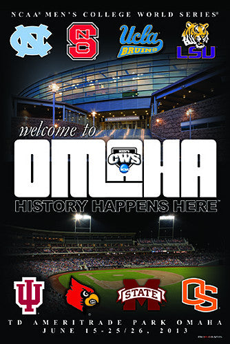 "NCAA Baseball College World Series 2013 ""Welcome to Omaha"" Official Poster"