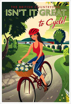 "British Countryside ""Cycling Girl"" Vintage-Style Poster Print by Michael Crampton"