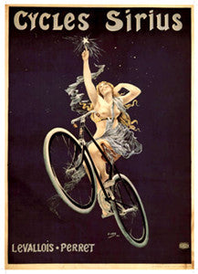 Cycles Sirius Levallois-Perret (Nude Bicycling Angel) Vintage c.1899 Reprint Poster