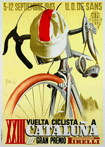 Classic Cycling Vuelta Ciclista a Cataluna (1943) Vintage Poster Print - Horton Collection
