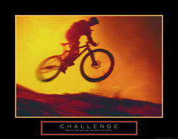 "Mountain Biking ""Challenge"" Motivational Cycling Poster - Front Line"