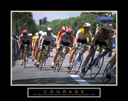 "Road Cycling ""Courage"" Motivational Poster - Front Line"