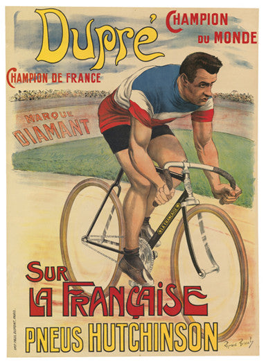 Hutchinson Tires featuring Victor Dupre 1909 Vintage Cycling Poster Reprint - Horton Collection
