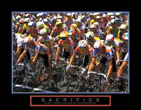 "Cycling ""Sacrifice"" (Road Race) Motivational Poster - Front Line"