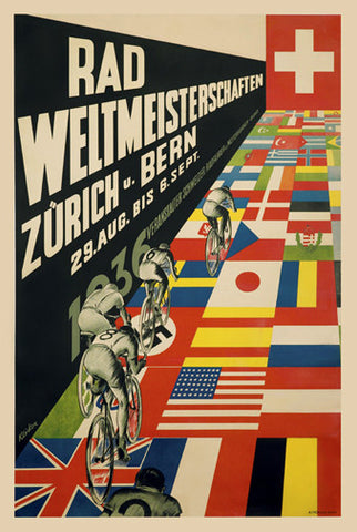 1936 Cycling World Championships Vintage Event Poster Reprint - The Horton Collection