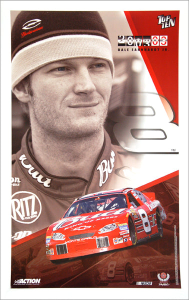 "Dale Earnhardt Jr. ""Top Ten"" NASCAR Racing Premium Poster - Action Collectables 2003"