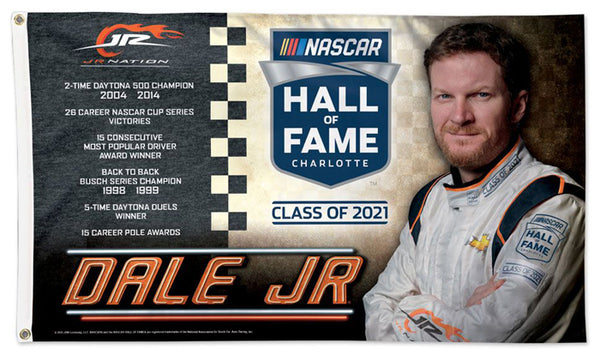 Dale Earnhardt Jr. JR NASCAR Hall of Fame Official 3'x5' NASCAR Banner Flag - Wincraft
