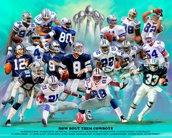 "Dallas Cowboys ""How Bout Them Cowboys"" (17 Legends) Art Print by Wishum Gregory"