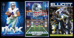 COMBO: Dallas Cowboys Football 3-Poster SUPERSTARS Combo Set (Prescott, Elliott, America's Team)