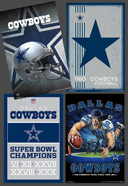 COMBO: Dallas Cowboys Football 4-Poster Theme Art Logo Combo Set Posters