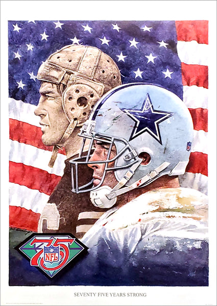 Dallas Cowboys NFL 75th Anniversary Theme Art Poster by Merv Corning - Front Row Collectibles