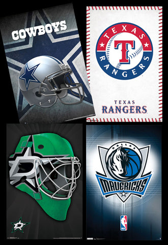 COMBO: Dallas, Texas Sports 4-Poster Combo Special Collector's Set