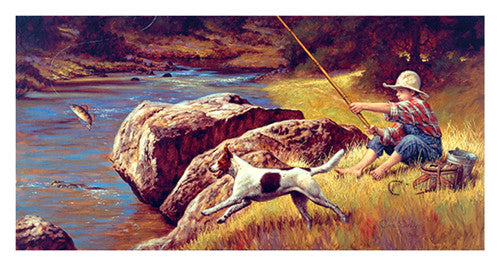 "Kids Fishing ""First Catch"" by Jim Daly Premium Poster Print - McGaw Graphics"