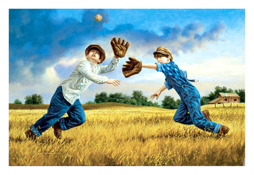 "Kids Baseball ""High Fly"" by Jim Daly Premium Poster Print - McGaw Graphics"