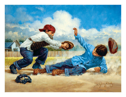 "Kids Baseball ""Home Safe"" by Jim Daly Premium Poster Print - McGaw Graphics"