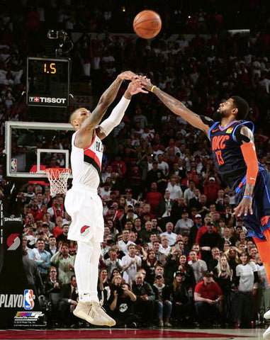 "Damian Lillard ""The Dagger"" (2019 Playoffs Game-Winning Shot) Portland Trail Blazers Premium NBA Poster Print - Photofile 16x20"