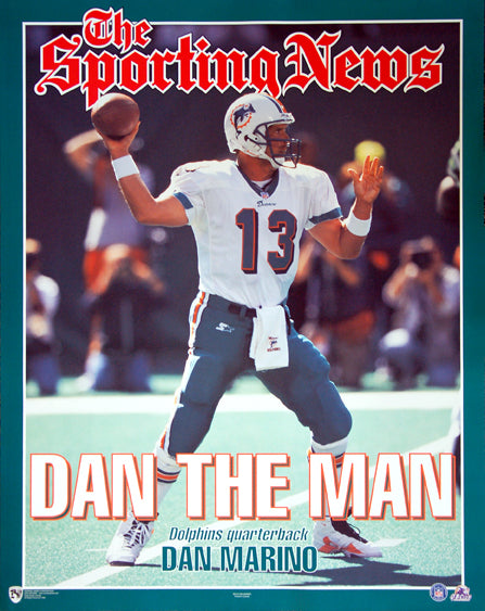 "Dan Marino ""Dan The Man"" (1998) Sporting News Miami Dolphins Poster - Norman James"